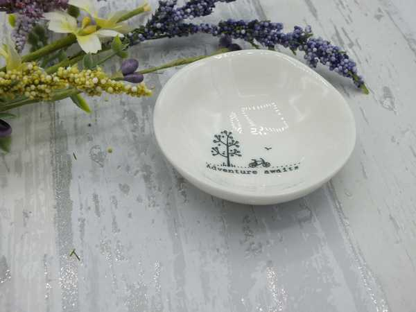 Adventure awaits small porcelain dish