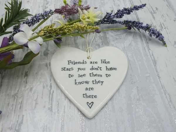 Friends are stars porcelain hanging heart