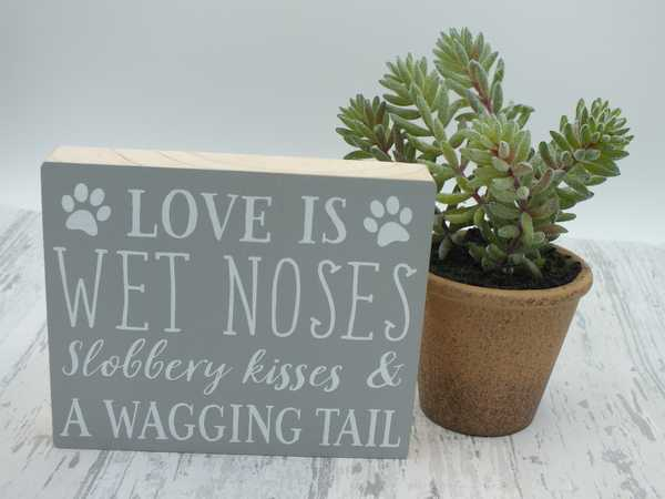 Love is grey block plaque