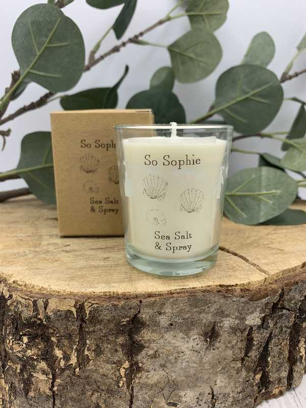 Sea salt and spray small candle