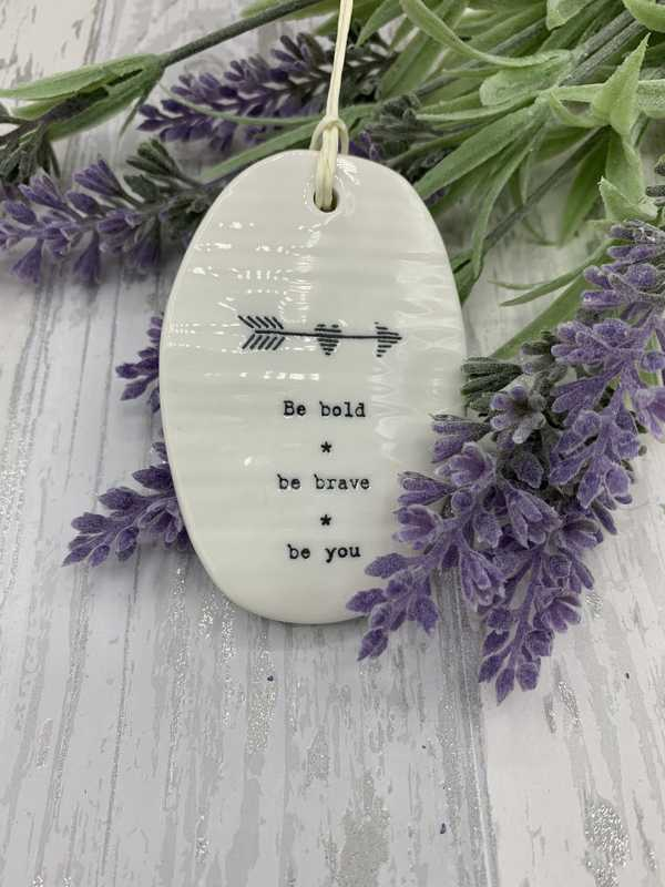 Be bold porcelain hanging oval plaque
