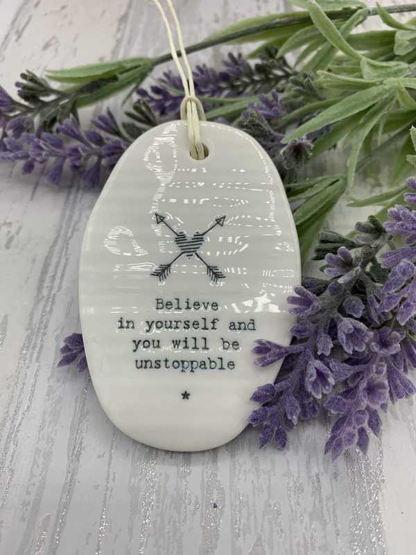 Believe in yourself porcelain hanging oval plaque