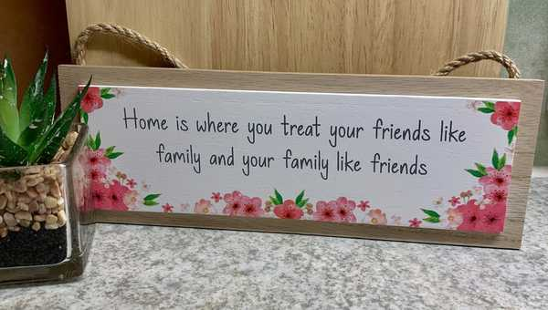 Home Is pink floral rectangular plaque
