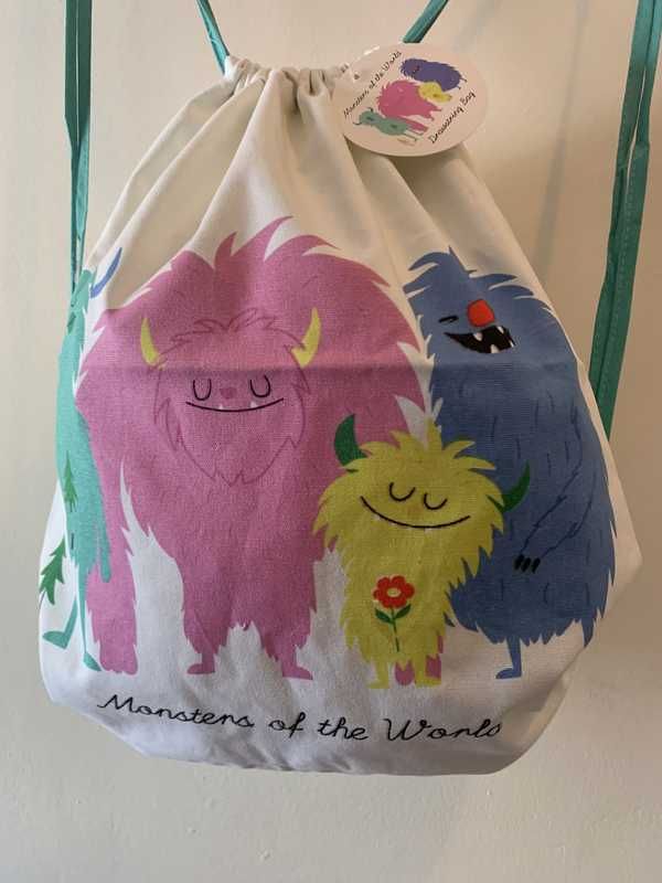 Childs Monsters Of The World Drawstring Bag
