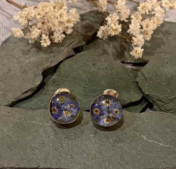 Sterling Silver Forget Me Not Round Stud Earrings