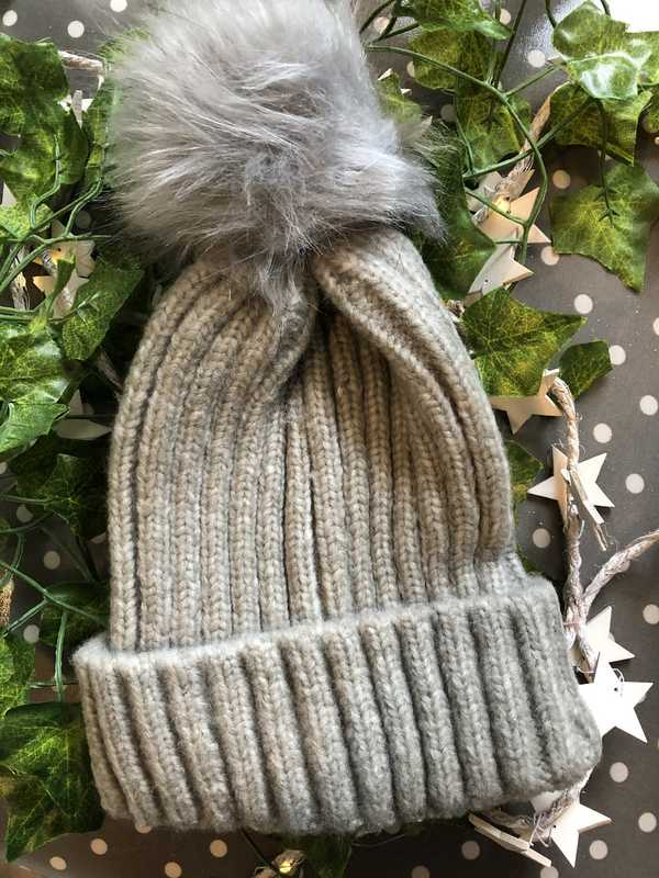 Light Grey Knitted Faux Fur Bobble Hat