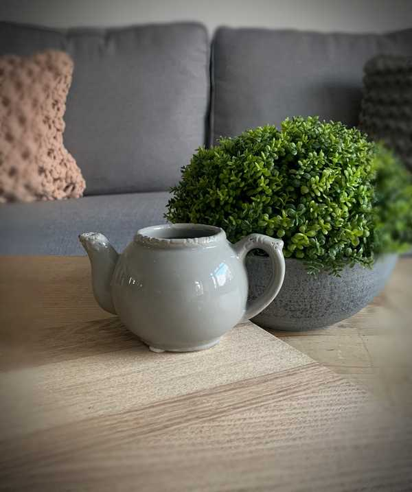 Grey Ceramic Teapot Planter