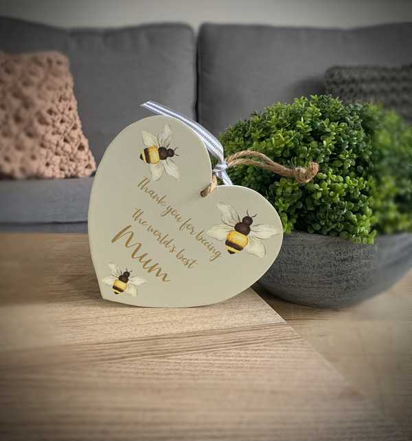 Worlds Best Mum Heart Plaque
