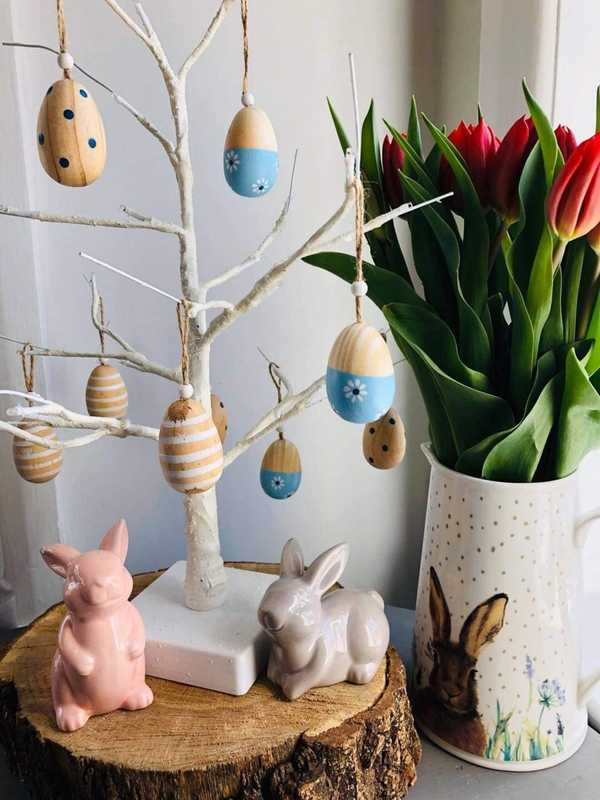 Set Of Six Wooden Hanging Easter Eggs