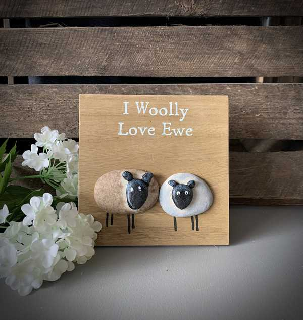 I Woolly Love Ewe Sheep Plaque