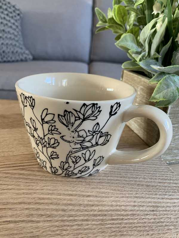 Imperfect Black And White Floral Mug