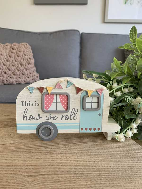 How We Roll Caravan Block Plaque