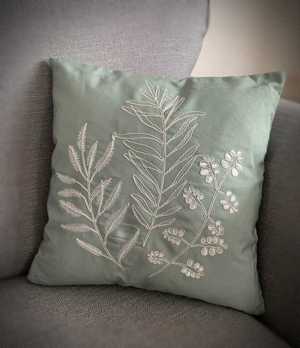Embroidered Leaf Cushion
