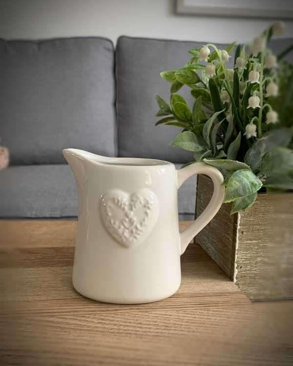 Small White Embossed Heart Jug